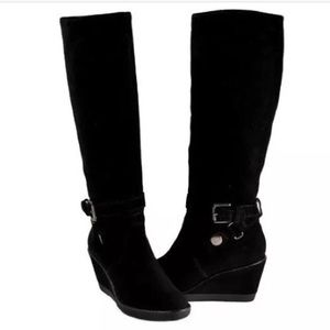 Coach CANDID black Suede boots size 9.5B flaws